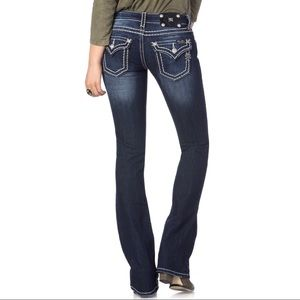 Miss Me JP5014 Boot Cut Cowgirl Jeans Solid Blue